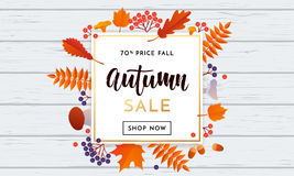 Autumn sale maple leaf poster autumnal shopping promo discount banner online store Stock Photos