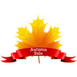 Autumn Sale on a maple leaf Royalty Free Stock Photo