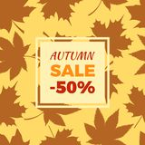Autumn Sale -50 off in Frame Leaves Foliage Icons. Autumn sale -50 off sign in frame surrounded by brown foliage. Vector illustration with leaves silhouettes Stock Photo