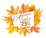 Autumn Sale -25 off Icon Vector Illustration. Autumn sale -25 off sign surrounded by frame of golden yellow foliage. Vector illustration with orange leaves Royalty Free Stock Photos
