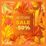 Autumn Sale -50 off Icon Vector Illustration. Autumn sale -50 off sign surrounded by frame of golden yellow foliage. Vector illustration with orange leaves Stock Image
