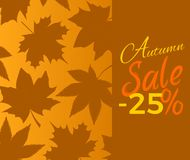 Autumn Sale -25 off Sign with Brown Foliage Text. Autumn sale -25 off sign with brown foliage. Vector illustration with leaves isolated on orange background with Royalty Free Stock Photos