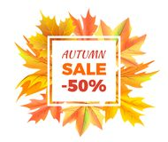 Autumn Sale -50 off Icon Vector Illustration. Autumn sale -50 off sign surrounded by frame of golden yellow foliage in bouquet. Vector with orange leaves Stock Images