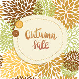 Autumn sale or offer banner design. Lettering text Autumn sale and two cute buttons on seamless floral background. Stock Photo