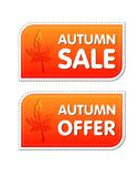 Autumn sale and offer labels with fall leaf Stock Photo