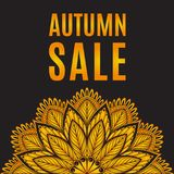 Autumn sale orange black poster with mandala Stock Image