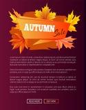 Autumn Sale Orange Label su Violet Backdrop, 2017 Immagini Stock Libere da Diritti