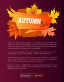 Autumn Sale Orange Label on Violet Backdrop, 2017. Fall web banner with buttons read more and buy now vector illustration poster with place for text Royalty Free Stock Images