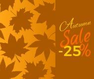 Autumn Sale -25 outre du signe avec le texte de feuillage de Brown Photos libres de droits