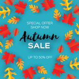 Autumn Sale Paper Cut-bladeren September-vliegermalplaatje Ruimte voor tekst Origamigebladerte eik Het bladaffiche van de cirkeld Stock Afbeeldingen
