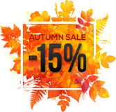 Autumn sale 15 percent discount  banner. With orange foliage in watercolor style Stock Photo