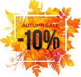 Autumn sale 10 percent discount banner. With orange foliage in watercolor style Royalty Free Illustration