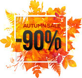 Autumn sale 90 percent discount banner. With orange foliage in watercolor style royalty free illustration