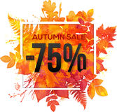 Autumn sale 75 percent discount  banner. With orange foliage in watercolor style Royalty Free Stock Image