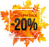 Autumn sale 20 percent discount  banner. With orange foliage in watercolor style Royalty Free Stock Photo