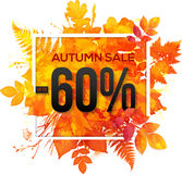 Autumn sale 60 percent discount banner. With orange foliage in watercolor style stock illustration