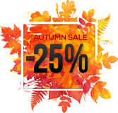 Autumn sale 25 percent discount  banner Royalty Free Stock Photos