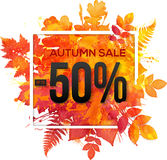 Autumn sale 50 percent discount vector banner Royalty Free Stock Photos