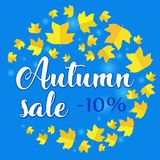 Autumn sale - 10 percent off. Banner with fall leaves on blue background. Vector illustration with colorful autumn leaves. Bright banner for fall discount sale Royalty Free Illustration