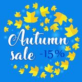 Autumn sale - 15 percent off. Banner with fall leaves on blue background. Vector illustration with colorful autumn leaves. Bright banner for fall discount sale Vector Illustration
