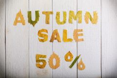 Autumn sale 50 percent. The text `autumn sale 50 percent,` cut from different yellow and orange fallen leaves from the trees and laid on the white wooden boards Royalty Free Stock Photo