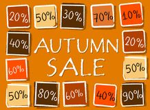 Autumn sale and percentages in squares - retro orange label. Autumn sale and different percentages - retro style orange label with text and squares, business Royalty Free Stock Photography