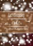 Autumn Sale. Poster with advertize for 50% autumn sale on braun background Stock Photos
