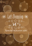 Autumn Sale. Poster with advertize for 50% autumn sale on braun background Stock Photo