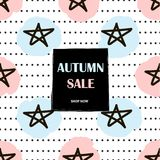 Autumn Sale poster. Background with stars. Vector illustration Stock Images