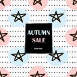 Autumn Sale poster. Background with stars. Vector illustration stock illustration