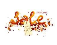 Autumn sale poster design. 70 percent discount tag. Leaves with 3d letters. Fall foliage background. Vector illustration stock illustration