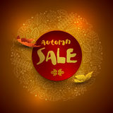 Autumn sale poster design. Vector autumn sale design with leaf icon frame Royalty Free Stock Image
