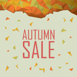 Autumn sale poster. Discounts banner template. Polygonal geometric background design. Foliage fall colors. Eps10 vector illustration royalty free illustration