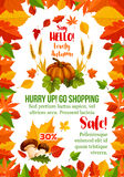 Autumn sale poster with fall season leaf frame Royalty Free Stock Photo