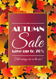 Autumn sale poster, flyer, card template. Bright fall maple leaves. Vector illustration vector illustration