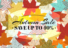 Autumn sale poster, flyer, card template with typography. Bright fall maple leaves, spica, rowanberry. Stock Photos