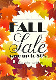 Autumn sale poster, flyer template. Royalty Free Stock Photos