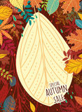 Autumn sale poster with leaves Royalty Free Stock Image
