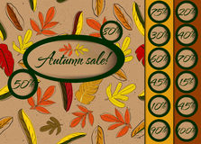 Autumn sale poster with seamless texture. Royalty Free Stock Images