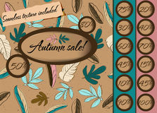 Autumn sale poster with seamless texture. Vector illustration EPS10 Royalty Free Stock Photography