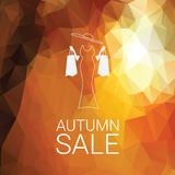 Autumn sale poster. Special offer promotion. Fashion discounts banner with elegant woman. Low polygonal bright foliage background. Eps10 vector illustration Royalty Free Stock Photo