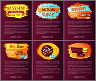 Autumn Sale Posters Set Promo Advertising Labels. Autumn sale posters set with promo advertising labels informing about discounts on web banners with place for Stock Photo