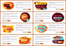 Autumn Sale Posters Set Promo Advertising Labels. Autumn sale web posters set with promo advertising labels informing about discounts, landing pages with place Royalty Free Stock Photos
