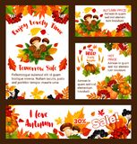Autumn sale vector web banners and posters. Autumn sale posters and web banners templates for seasonal online shopping or 30 percent discount promo store leaflet Royalty Free Stock Photo