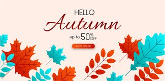 Autumn 50% sale. Promo poster with color leaves. Autumn 50 sale. Promo poster with color leaves. Online shop. Vector background. r Stock Illustration