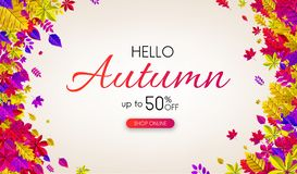 Autumn 50% sale. Promo poster with color leaves. Autumn 50 sale. Promo poster with color leaves. Shop online. Vector background Stock Illustration