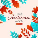 Autumn 50% sale. Promo poster with colorful leaves. Autumn 50 sale. Promo poster with colorful leaves. Online shopping. Vector background. r Stock Illustration