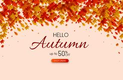 Autumn 50% sale. Promo poster with gold leaves. Autumn up to 50 off sale. Promo poster with gold leaves. Online shopping. Vector background vector illustration