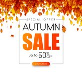 Autumn 50% sale. Promo poster with golden leaves. Autumn up to 50 off sale. Promo poster with golden leaves. Special offer. Vector background vector illustration