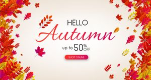 Autumn 50% sale. Promo poster with red leaves. Autumn 50 sale. Promo poster with red leaves. Shop online. Vector background Vector Illustration